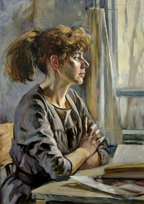 Ivanov, Anatoly - Woman w Book, Table by Window