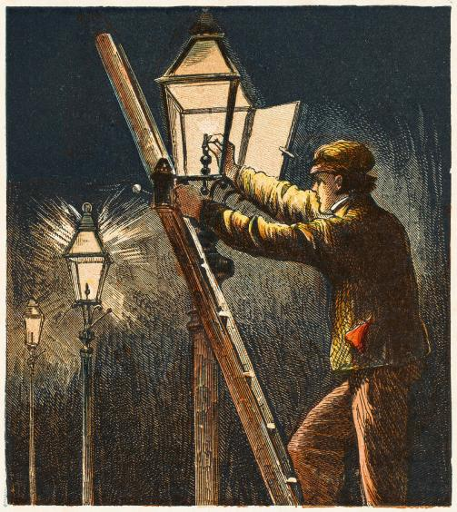 lamplighter-carrying-out-his-duty-mary-evans-picture-library