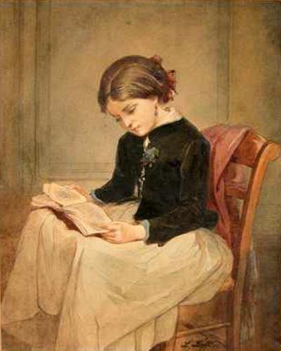 Leopold Löffler (1827 – 1898, Polish)girl-with-a-book