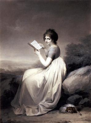 Louis Leopold Boilly (França, 1971-1845, jovem senhora lendo nu campo, 1798, carvão com detalhes em pastel vermeho, Hood Museum of Art, dartmouth college