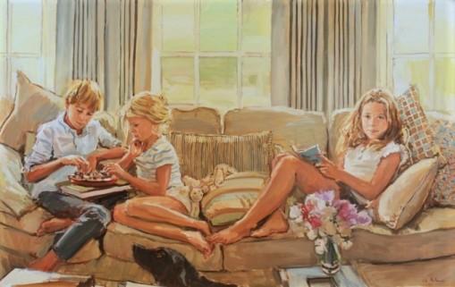 Luke Martineau (Inglaterra, 1970)ww.lukemartineau.com,óleo s tel,Ollie-Imogen-and-Tati-oil-on-canvas-24-by-38-ins-2013-680x429