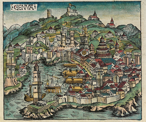 Nuremberg_chronicles_f_58v_1 The city of Genoa in a woodcut from the Nuremberg Chronicle, 1493