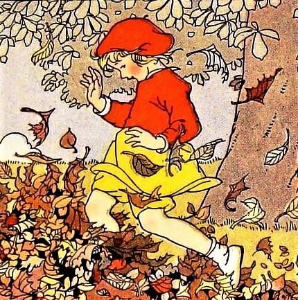 outono, folhas, brincadeira, menina