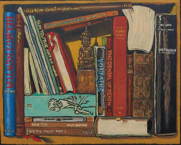 Paul Herman (EUA, 1962) Bookshelf VIII, Books Thai Buddha , Oil painting on panel 21 x 25 cm
