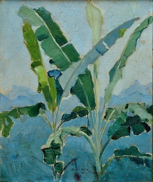 PAULO GAGARIN (1885-1980). Bananeiras ao Fundo Serra dos Órgão - RJ, óleo s tela, 41 X 34.