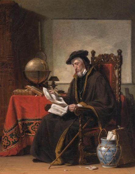 Robert Walter Weir (EUA, 1803-1889), Américo Vespucio,1848, ost, 50 x 40 cm