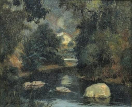 SALVADOR CARUSO (SÃO PAULO, 1906-1951). A Curva do Rio Piabanha - Petrópolis, óleo s tela, 38 x 46. Assinado no c.i.e. e no verso (1946).