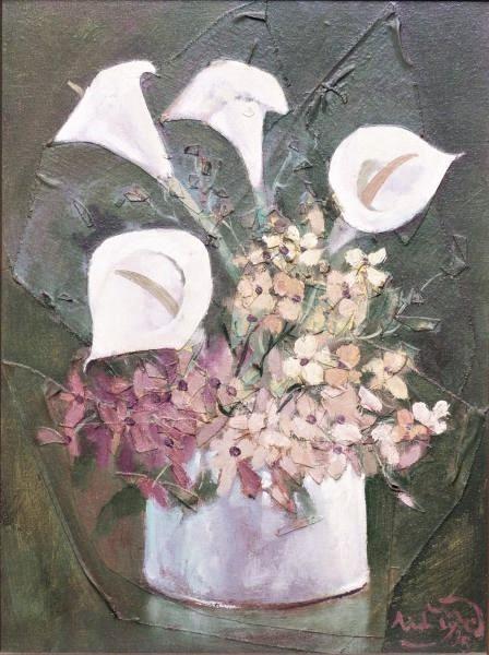 Sidney Mariano (Brasil, 1944) Vaso de Flores, Óleo e colagem sobre tela, 40x30cm , 1995