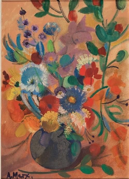 ANTONIO AUGUSTO MARX, Vaso de flores - Óleo sobre tela - 70x50 cm - ACIE 1986 ( Com selo da Galeria Tema Arte Contemporânea )