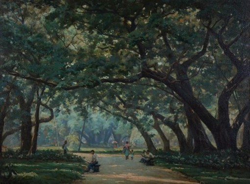 Edgar Walter - Quadro á óleo sobre tela representando Parque com figuras.54 x 72 cm