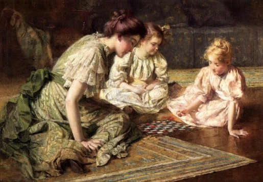 Francis_Coates_Jones_-_Mother_and_daughters_playing_chess