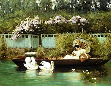 Geza Polgary (Hungria 1862-1919) Moça lendo em um barco, 1889, ost