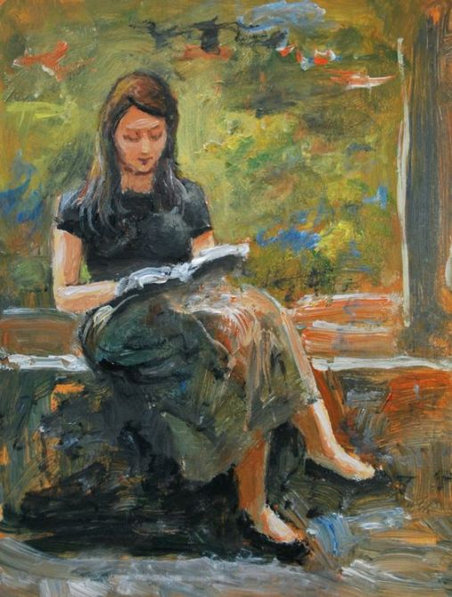 Girl reading, Painting by Vishalandra Dakur (India), Oil on Wood. Its dimensions are 25.4x20.3x0.5 cm.
