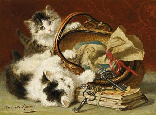 Henriette Ronner-Knip Two kittens playing with a basket. Oil on wood. 24 x 32.5cm