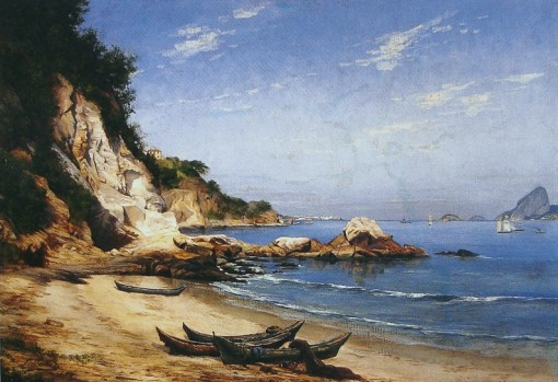 HIPÓLITO CARON(Brasil, 1862-1892) - Praia da Boa Viagem, Niterói - Óleo sobre tela - 50x 75 - 1884