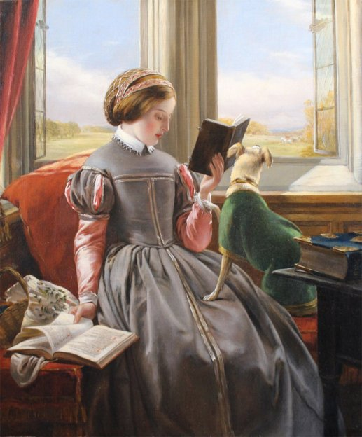 John Callcott Horsley (British 1817-1903), At The Window, the Terrier Anxious to Join the Hunt in the Distance, nd, ost
