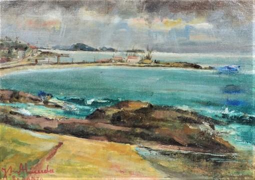 JOSÉ MARIA DE ALMEIDA (Portugal 1906 - MG 1995)Guarapari, o.s.t - datado no verso 1963.,45x32cm