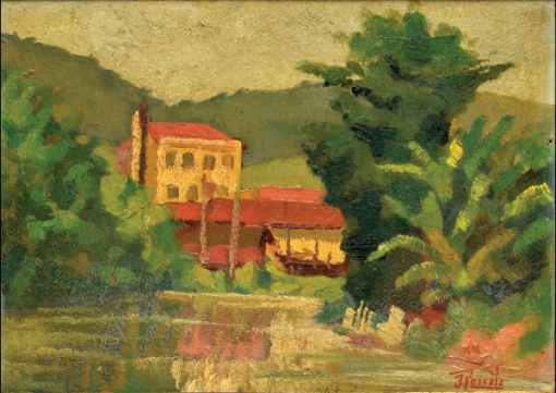 RESCALA, JOÃO JOSE (1910-1990). Paisagem com Casario e Riacho no Estado do Rio, óleo s cartão, 26 X 32. Assinado no c.i.d. (Década de 30).