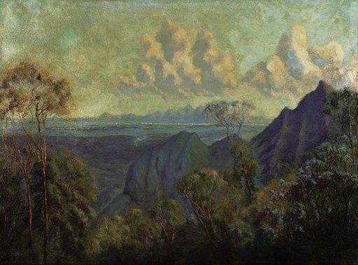 SCHOUBOE, Pablo, Rio de Janeiro visto da Estrada para Petrópolis,óleo stela, (década de 1930)62 x 84,5 cm