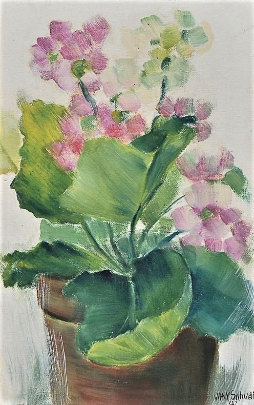 VANY NOVELLO (1938). Vaso com flores, óleo seucatex, 40 x 25. Assinado e datado (1982) no c.i.d