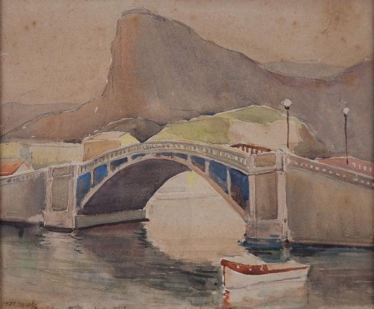 YOSHIYA TAKAOKA, Quadrado da Urca - Rio de Janeiro ,Aquarela sobre papel. Ass. dat. 1938 inf. esq. 25 x 30 cm.