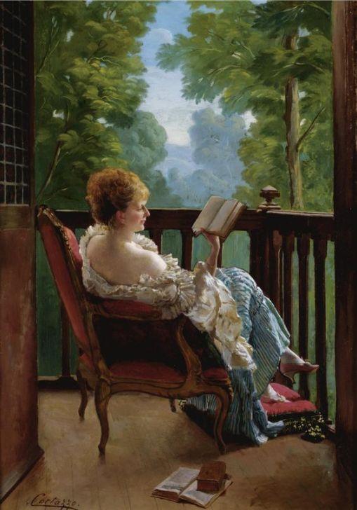 A Quiet Moment. Oreste Cortazzo (Italian, b.1836). Oil on canvas.