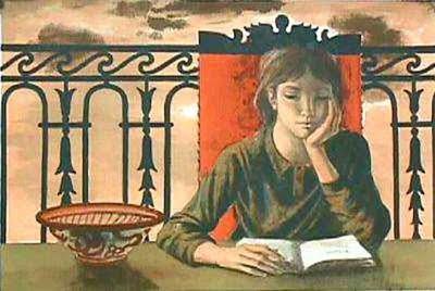 Alaux, Jean-Pierre 1925 - fille lisant