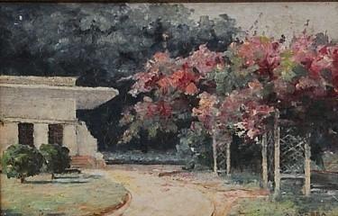 AUGUSTO SEABRA - São Lourenço, pintura a óleo tela - 9,9 cm X 15 cm