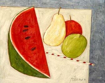 Gustavo Rosa, FRUTAS,40 x 50 cm,óleo sobre tela,1979