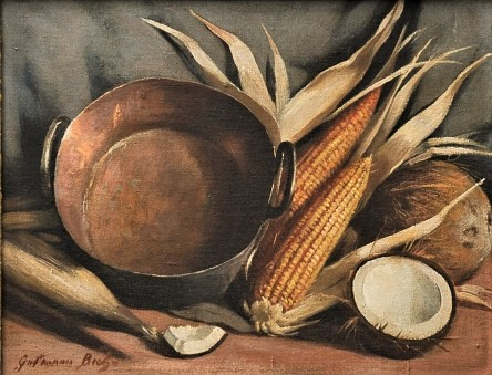 GUTTMAN BICHO, GALDINO (1888-1955). Tacho, Espigas de Milho e Cocos sobre a Mesa, óleo smadeira, 38 X 50. Assinado no c.i.e e datado (1944) no verso