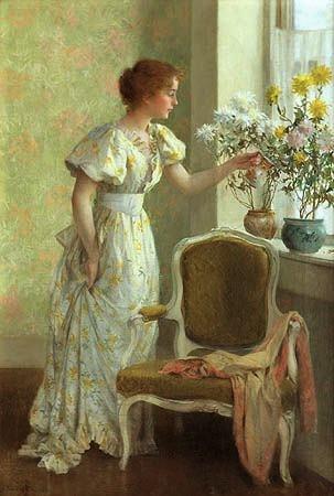 Jones, Frances Coates (1857-1932) - 1890c. Flowers in the Window