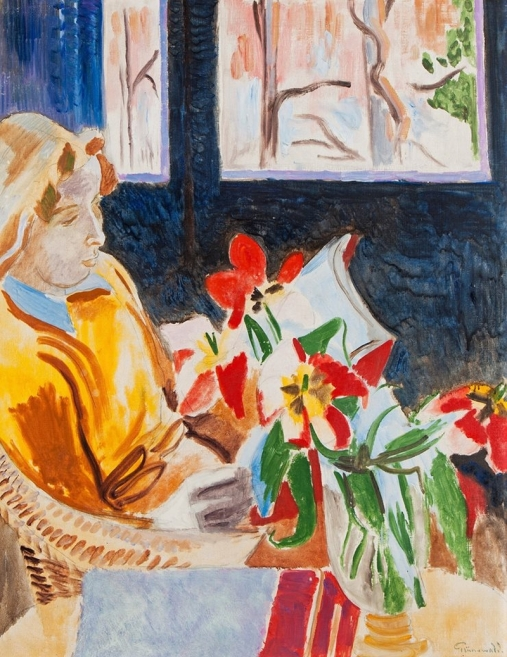 Martha-at-the-window-Isaac-Grunewald-Oil-Painting