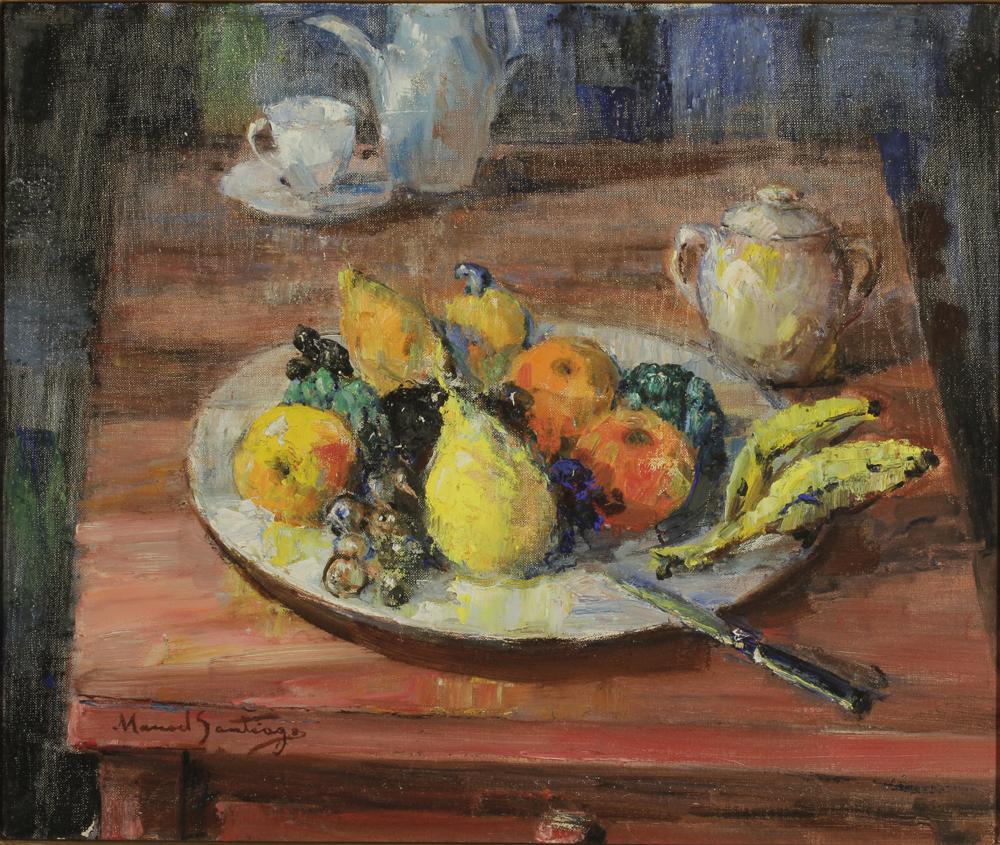 Natureza Morta com Frutas. Óleo sobre tela, 46 x 55 cm. Manuel Santiago