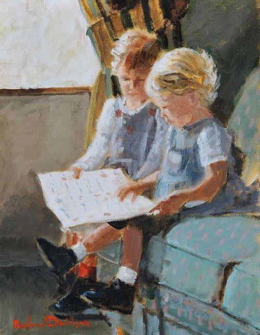 Rowland Davidson (Irlanda, 1942) meninas lendo, acrilica sobre tela, 45 x 35 cm