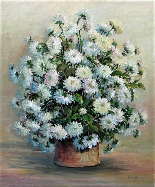 Wilma Sedys, Vaso com flores, óleo sobre tela, 50 x 60 cm