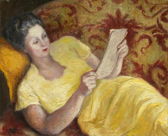Georges van Houten (Belgica, 1888-1964) Retrato de mulher em amarelo lendo um livro, 1953