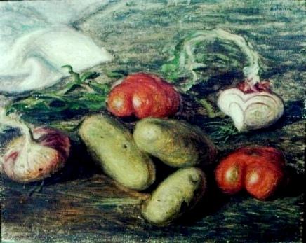 Hugo Adami (Brasil, 1899-1999)Tomates, cebolas e batatas, ost, 35x40